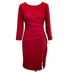 Ivanka Trump • Sun burst pleated Red Wine Dress